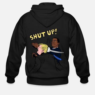 Cowboy Shut up Obama punch trump shirt - Men's Zip Hoodie