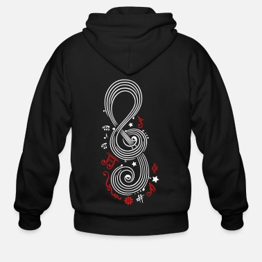 Music Note Big Clef with music notes - Men's Zip Hoodie