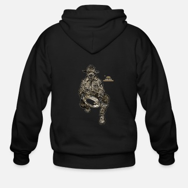Gold California Gold Miner with Mining Pan - Men's Zip Hoodie