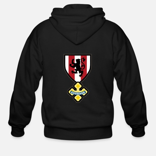 Game Hoodies & Sweatshirts - Cowardly crest - Men's Zip Hoodie black