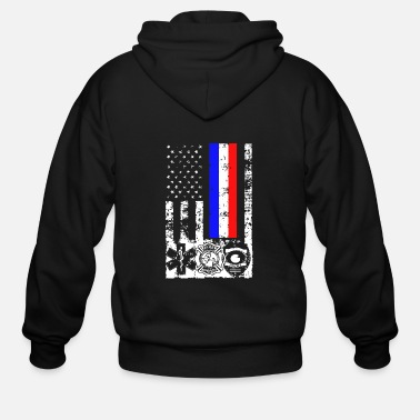 First EMT First Responder Flag Tee Shirt - Men's Zip Hoodie