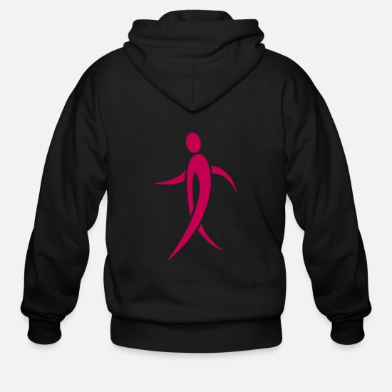 Cancer Hoodies & Sweatshirts - Walking Pink Ribbon - Men's Zip Hoodie black