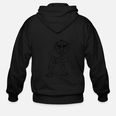 Disgusting naked ugly disgusting old man grandpa monster trol - Men's Zip Hoodie