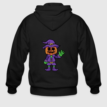 Halloween Monster Zombie Scary Horror Pumpkin - Men's Zip Hoodie