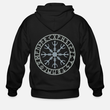 Helm of awe, Aegishjalmur, protection symbol, rune - Men's Zip Hoodie