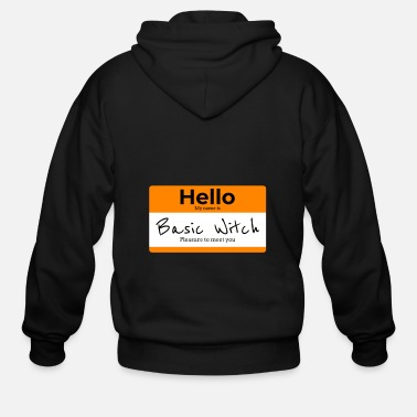 Nametag Hello My Name Is Basic Witch | Halloween Nametag - Men's Zip Hoodie