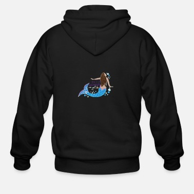 Brunette Just Keep Swimming Mermaid - Men's Zip Hoodie