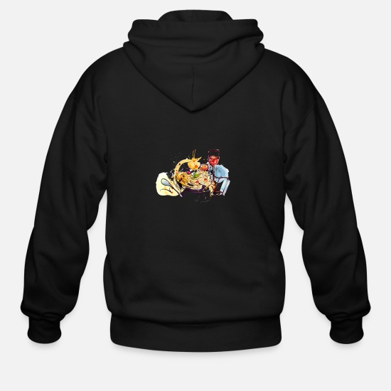 Image Hoodies & Sweatshirts - Food pasta sketch glass of wine vector image cool - Men's Zip Hoodie black