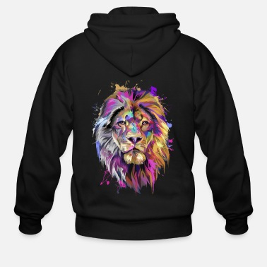 Splash Lion Splash Art T-Shirt - Men's Zip Hoodie