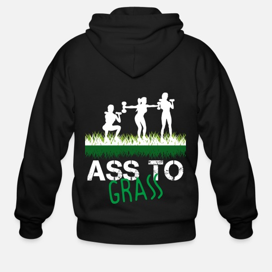 Ass Hoodies & Sweatshirts - ass to grass - Men's Zip Hoodie black