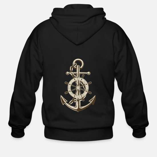 Sailboat Hoodies & Sweatshirts - Anchor Marine Sailor Boat Sailing Ship Boating - Men's Zip Hoodie black