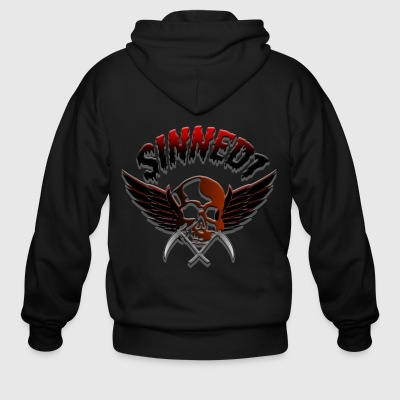 Sinned1 Dripping Text - Men's Zip Hoodie