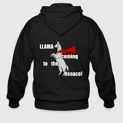 Llama Coming to the Rescue - Men's Zip Hoodie