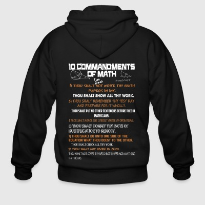 10 Commandments Of Math Shirt - Men's Zip Hoodie