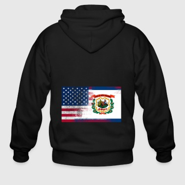 West Virginia American Flag Tee - Men's Zip Hoodie