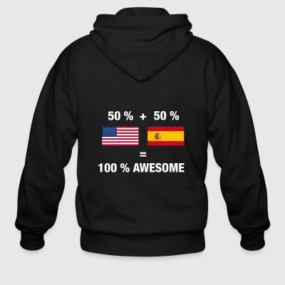 Half Spanish Half American 100% Spain Flag - Men's Zip Hoodie