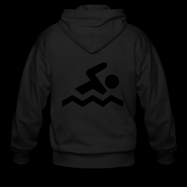 Swimming Sign Symbol Icon Swim Beach Dive Gift - Men's Zip Hoodie
