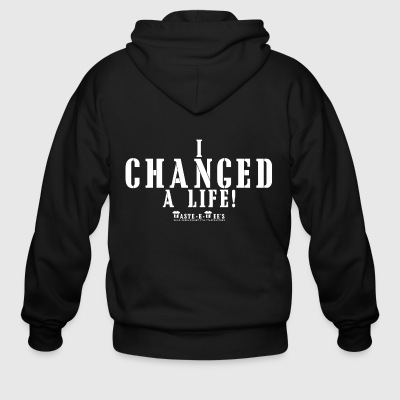 I CHANGED A LIFE white - Men's Zip Hoodie