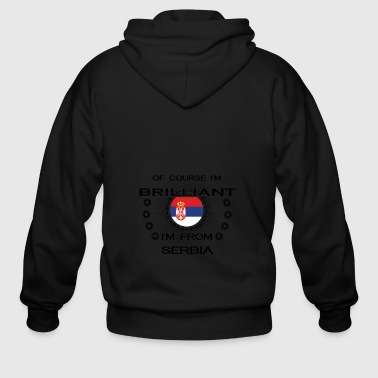 I AM GENIUS BRILLIANT CLEVER SERBIA - Men's Zip Hoodie