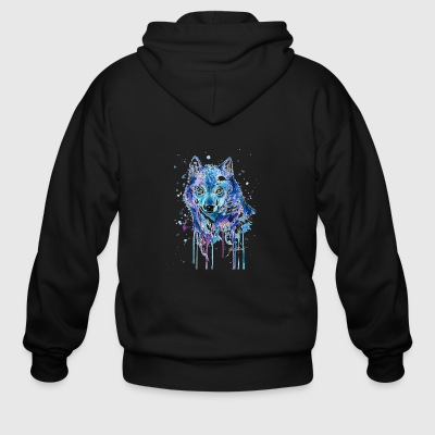 GIFT - COLORFUL WOLF - Men's Zip Hoodie