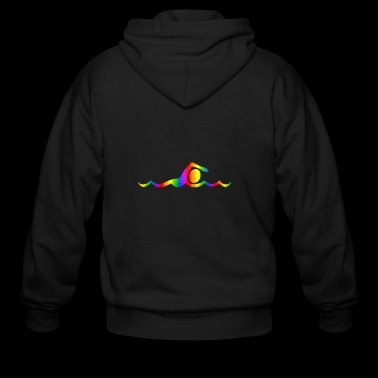 Colorful Swimming Rainbow - Men's Zip Hoodie
