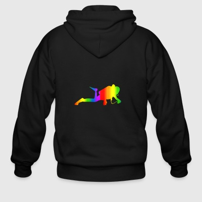 Colorful Diving Rainbow - Men's Zip Hoodie
