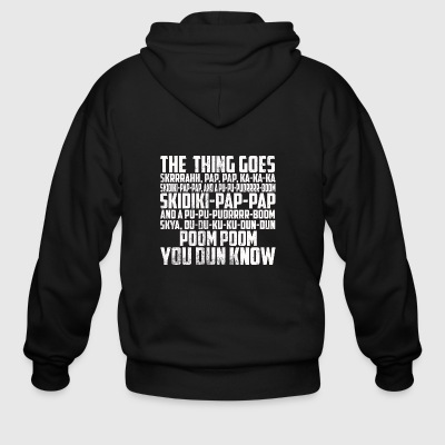 MANS NOT HOT THE THING GOES FUNNY LYRICS - Men's Zip Hoodie