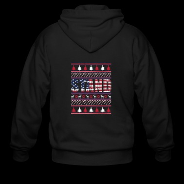 Stand For The Flag Ugly Christmas Sweater Anthem T - Men's Zip Hoodie