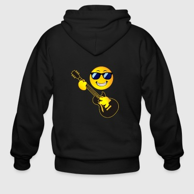 Rock Music Emoticon Smiley Face Guitar Sunglasses - Men's Zip Hoodie