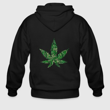 Weed leaf in written words - Men's Zip Hoodie