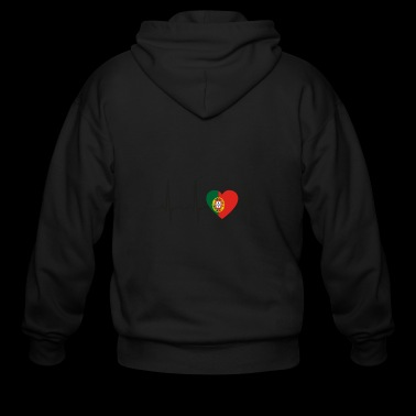 I LOVE ekg heartbeat PORTUGAL portugese - Men's Zip Hoodie