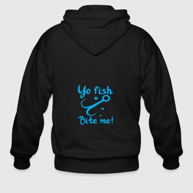 yo fish bite me - Men's Zip Hoodie
