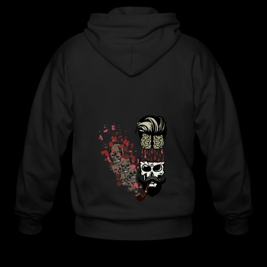 skull smoking pipe brain blood drop brain mustache - Men's Zip Hoodie