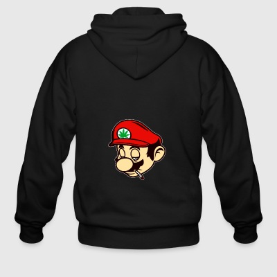 Mario Smoking Marijuana Weed - Men's Zip Hoodie