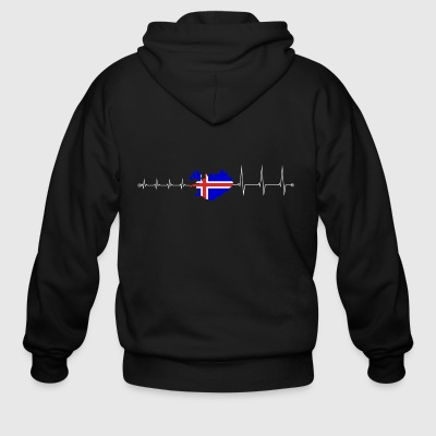 Heartbeat Iceland - I love Iceland - Men's Zip Hoodie
