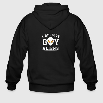 I believe gay aliens - Men's Zip Hoodie
