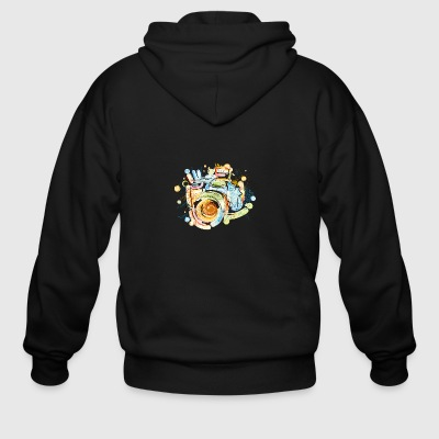Cool camera sketch vector image awesome drawing - Men's Zip Hoodie