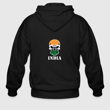 Indian Flag Skull India - Men's Zip Hoodie