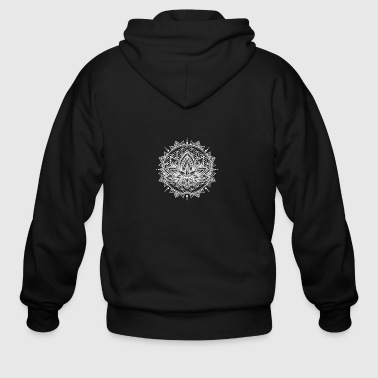 Lotus Mandala White - Men's Zip Hoodie