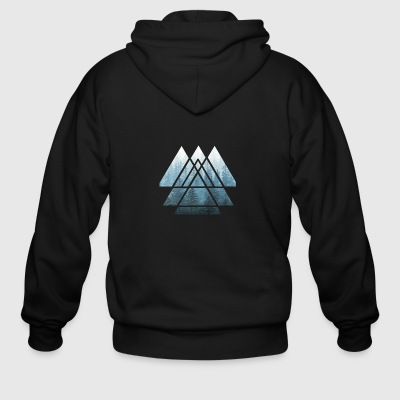 Sacred Geometry Triangles Misty Forest - Men's Zip Hoodie