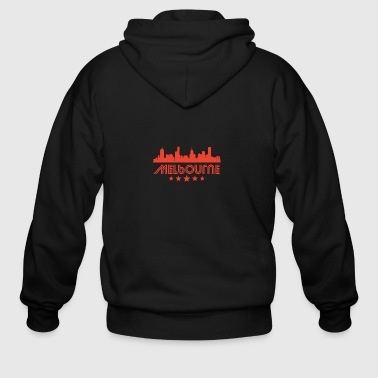 Retro Melbourne Skyline - Men's Zip Hoodie