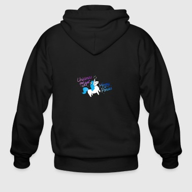 Unicorn Are Just Horny Ponies Rainbow - Men's Zip Hoodie