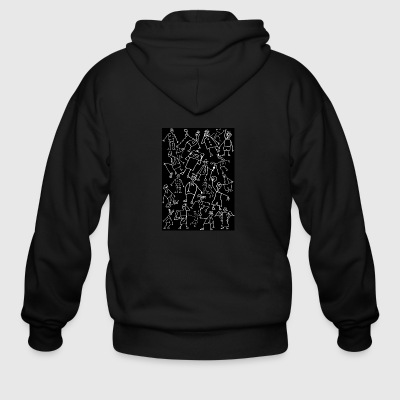 white scribbled figures on black - Men's Zip Hoodie