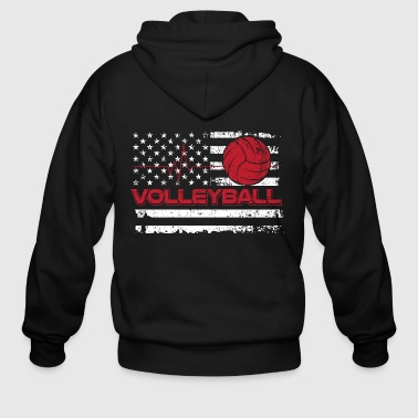 Volleyball/American Flag/Volley Ball/Player/Sports - Men's Zip Hoodie