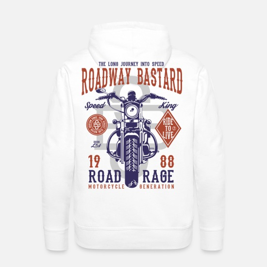 Collection Hoodies & Sweatshirts - Roadway Bastard - Motocross, Motobike Rider Shirt - Men's Premium Hoodie white