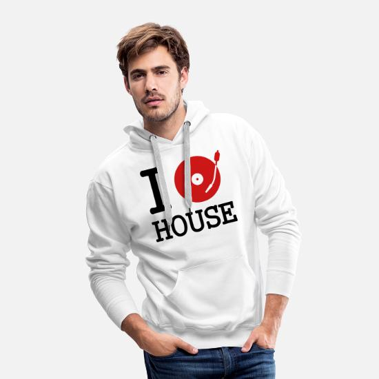 Deejay Hoodies & Sweatshirts - I dj / play / listen to house - Men's Premium Hoodie white