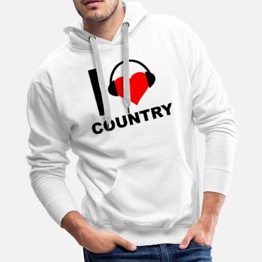 I Love Country funny t-shirt - Men's Premium Hoodie