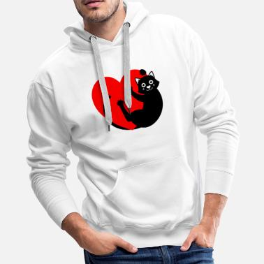 Mascot BLACK CAT HANGING FROM THE HEART - Men's Premium Hoodie