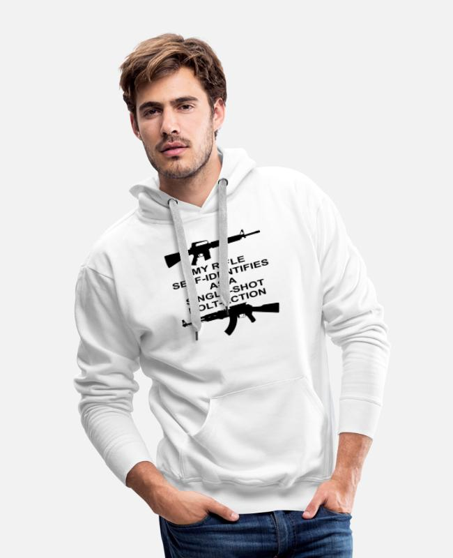 Social Hoodies & Sweatshirts - My Rifle Self Identifies As A Single Shot Bolt Act - Men's Premium Hoodie white