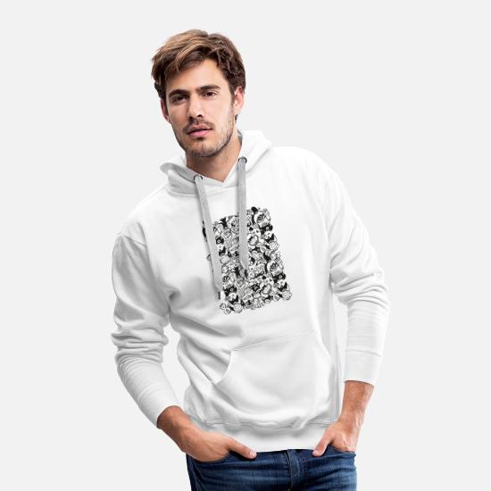 Aggressive Hoodies & Sweatshirts - Doodles get crazy when posing for a pattern design - Men's Premium Hoodie white